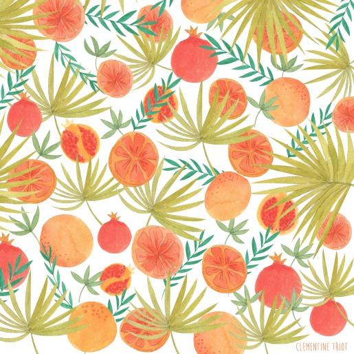 Pomegranates and oranges pattern
