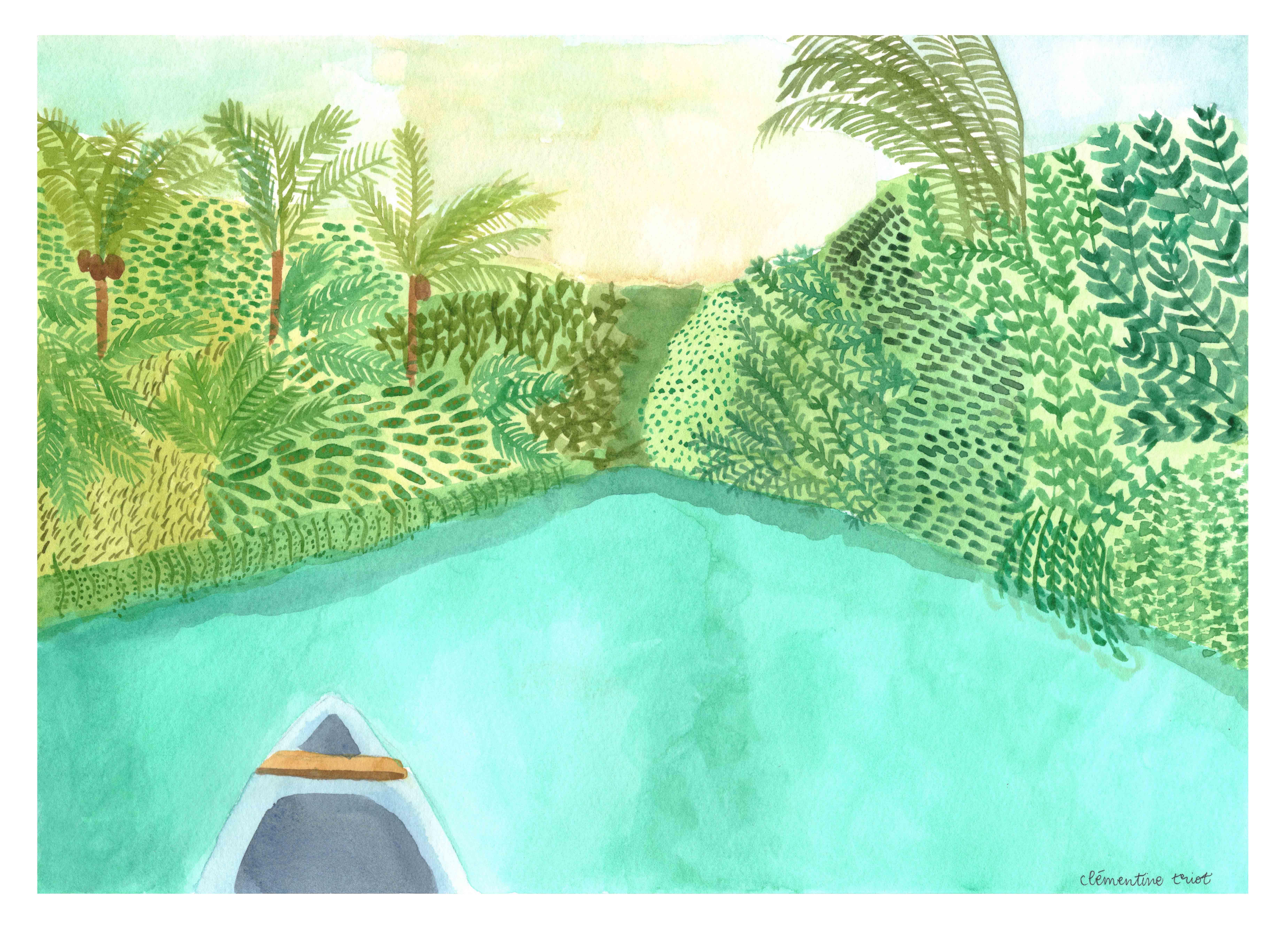 Clementine Triot illustration watercolor landscape Pangandaran canyon