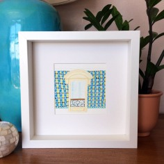 Mediterranean window with blue tiles