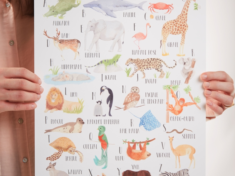 Watercolor reproduction animal alphabet poster