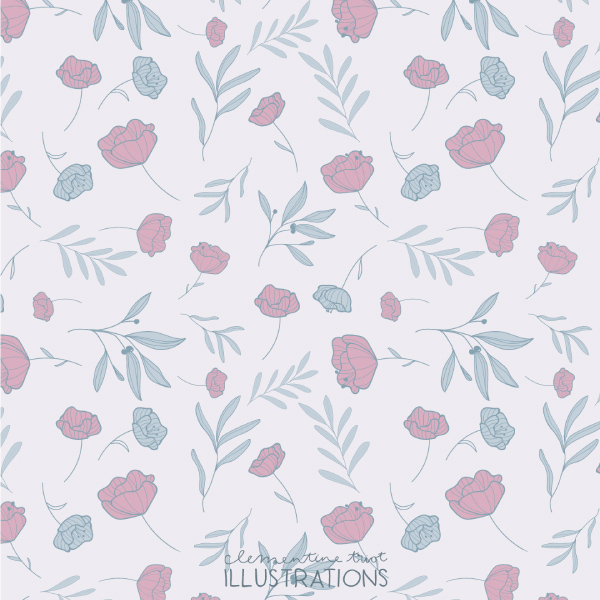 Pastel flower pattern Clementine Triot Illustrations