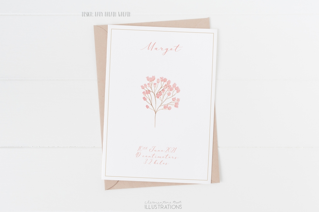 Baby breath wreath, watercolor birth announcement card by Clementine Triot Illustrations