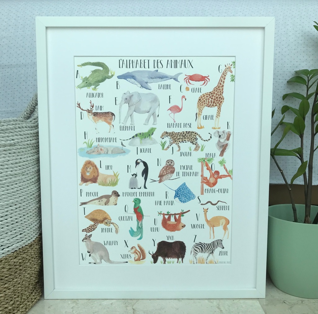 Clementine Triot illustration watercolor animal alphabet poster for nursery