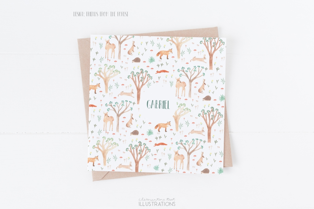 Friends from the forest, watercolor birth announcement card by Clementine Triot Illustrations