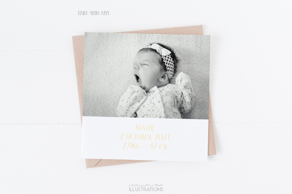 Spring baby, watercolor birth announcement card by Clementine Triot Illustrations