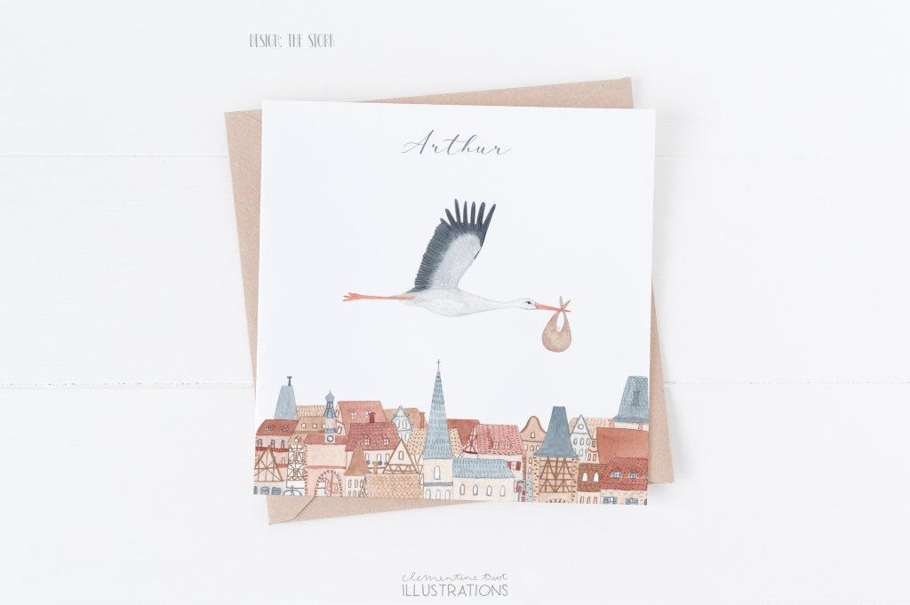 The stork, watercolor birth announcement card by Clementine Triot Illustrations