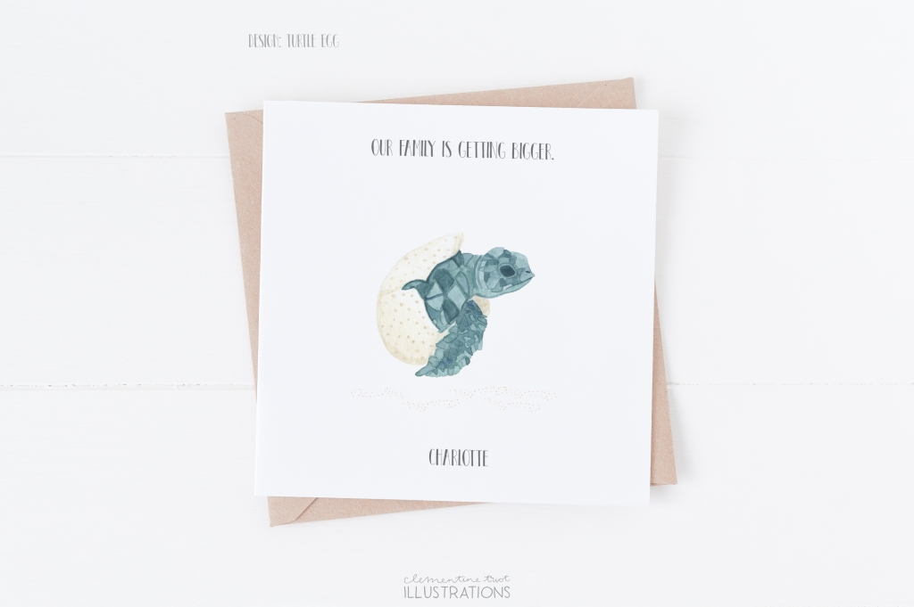 Turtle, watercolor birth announcement card by Clementine Triot Illustrations