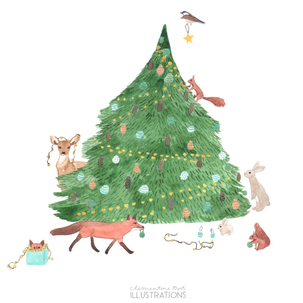 Watercolor Christmas tree illustration Clementine Triot